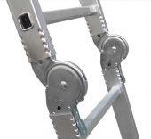 System blokowania zawiasów zabezpiecza przed nieprawidłowym rozstawieniem drabiny.
